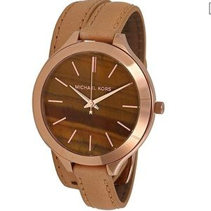 Michael Kors rose gold/leather Ladies watch MK2328